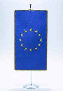 Namizna zastavica - svilena, robljena, kovinsko stojalo